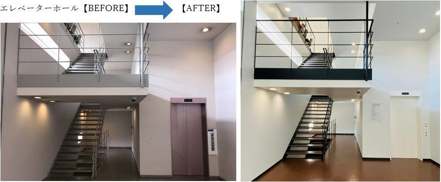 会社の玄関口 エレベーターホールやトイレをリニューアルしました。ヽ(^o^)丿